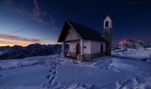 Blue Hour Sunrise Image of a chapel / church in the Italian mountains