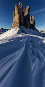 Vertical Panorama of Tre Cime Di Lavaredo Mountains and Snow