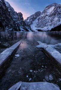 lago di braies at sunrise