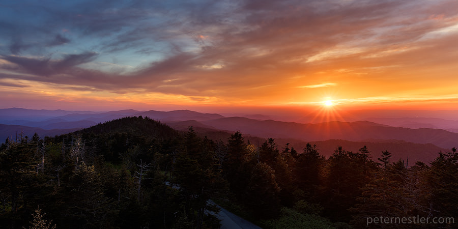 Sunset over the Smoky Mountains in Central Tennessee