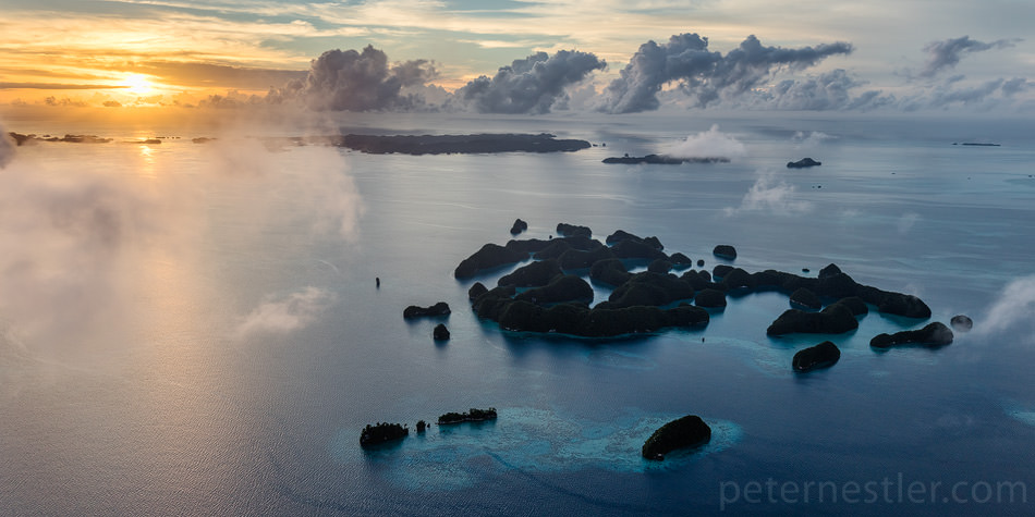 Seventy Islands - 70 Islands of Palau at sunrise from a plane