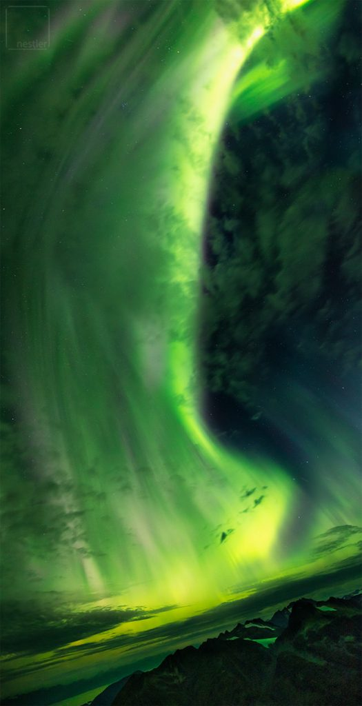 Huge band of the northern lights above Juneau, Alaska