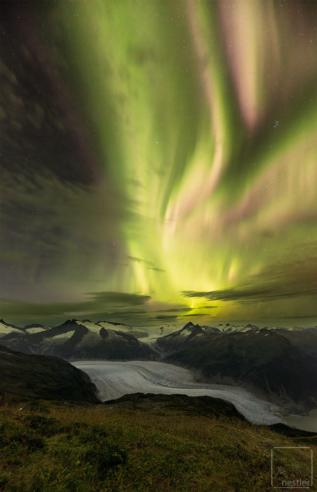 Northern Lights over the Mendenhall Glacier in Juneau, Alaska