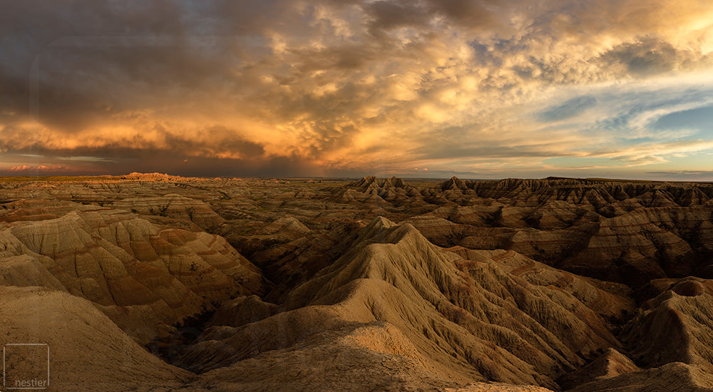 The Bad Lands of South Dakota at sunset after a storm passed through