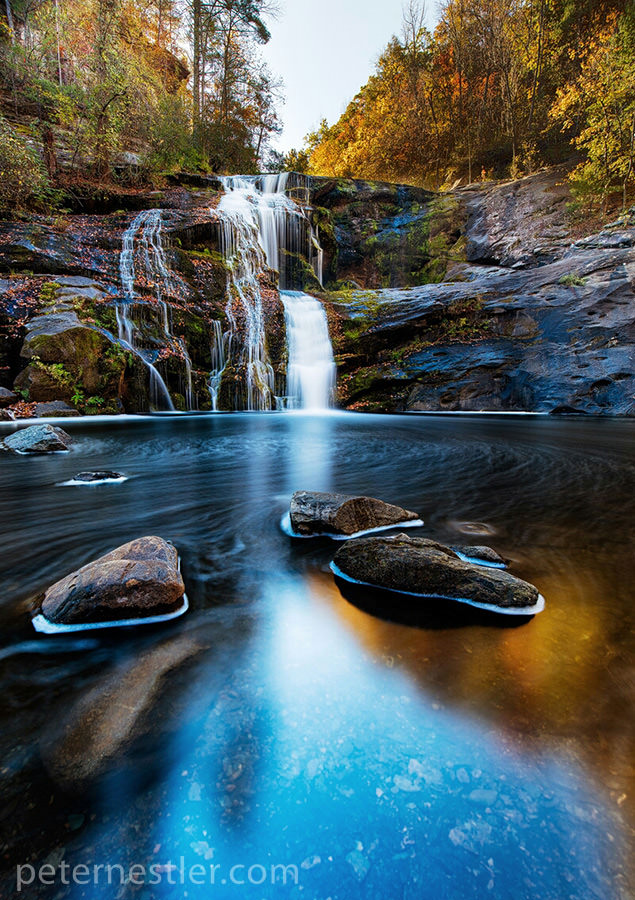 Fall Colors highlight this beautiful set of falls in Tennessee