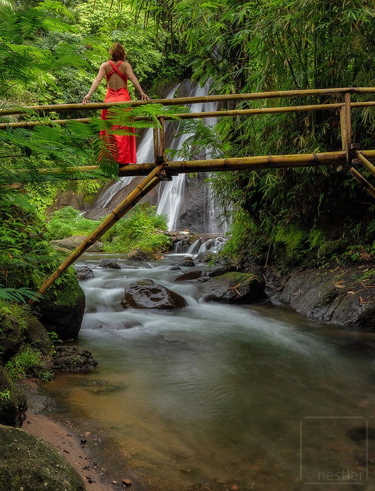 Red Dress Bridge at Waterfall