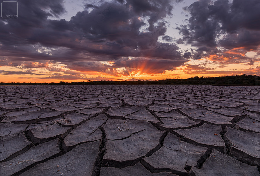 Cracks of mud at sunset in Australia