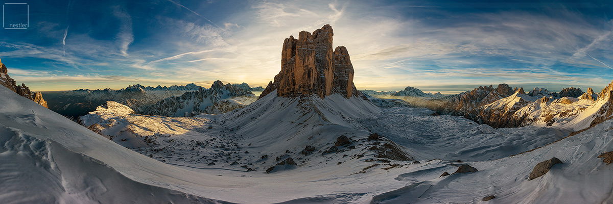 Epic - Sunset Panoramic Image in the Italian Dolomites at Tre Cime di Lavaredo