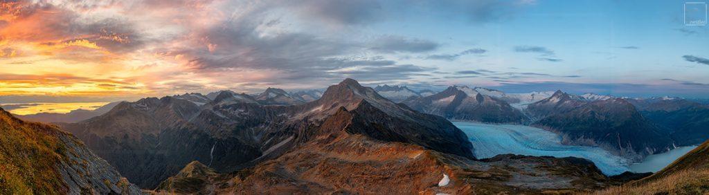 McGinnis Part Deux - Panoramic Sunset over the Mendenhall Glacier in Juneau, Alaska