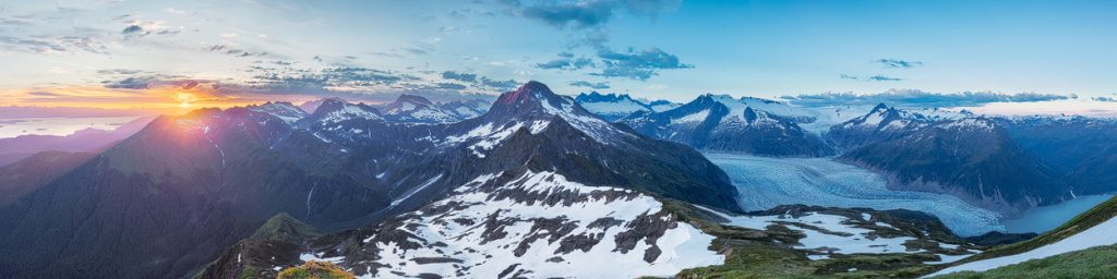 Juneau Photo Tours can take you to a Panoramic view on Mt McGinnis overlooking the Mendenhall Glacier