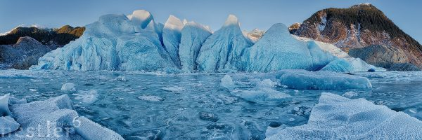 Face of Change - Panoramic image of Mendenhall Glacier in Juneau Alaska