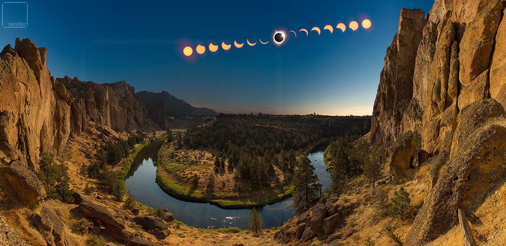 Footprints of the Sun - 2017 eclipse at smith rock state park in Oregon