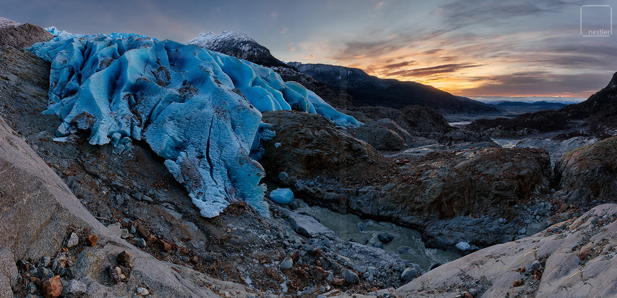 Talons - Panoramic Fine Art Image of Herbert Glacier at Sunset