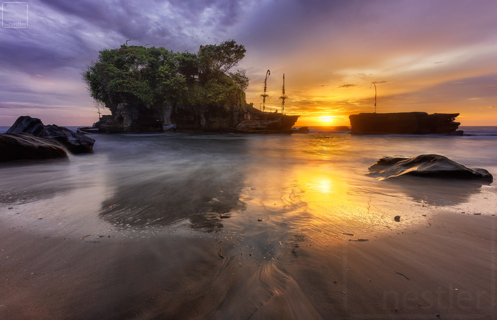 Tanahlot Temple at sunset in Bali Indonesia