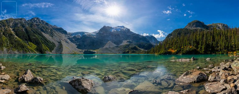 Panoramic image of Upper Joffre Lake near Whistler, Canada