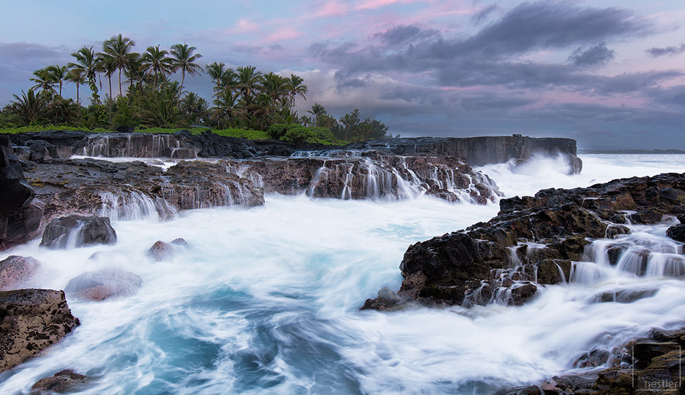 Washtub Palms - Sunrise at the rocky shores of Hawaii